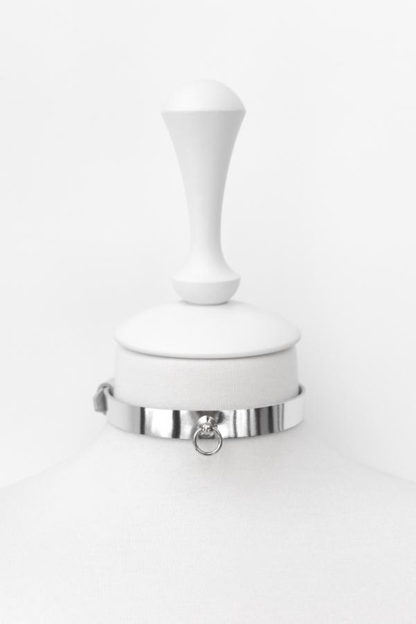 Чокер с маленьким колечком 2 (серебряный)